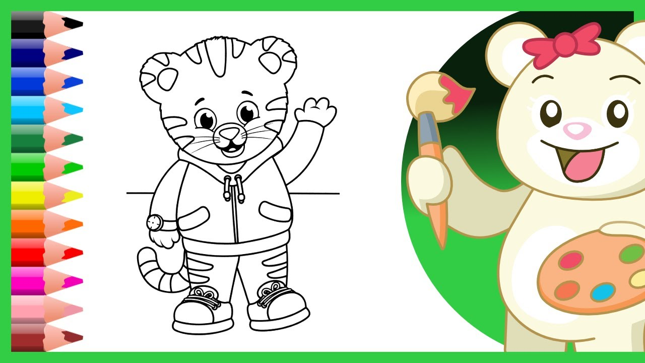 Daniel Tiger and Miss Elaina Coloring Pages - Coloring Videos for ...