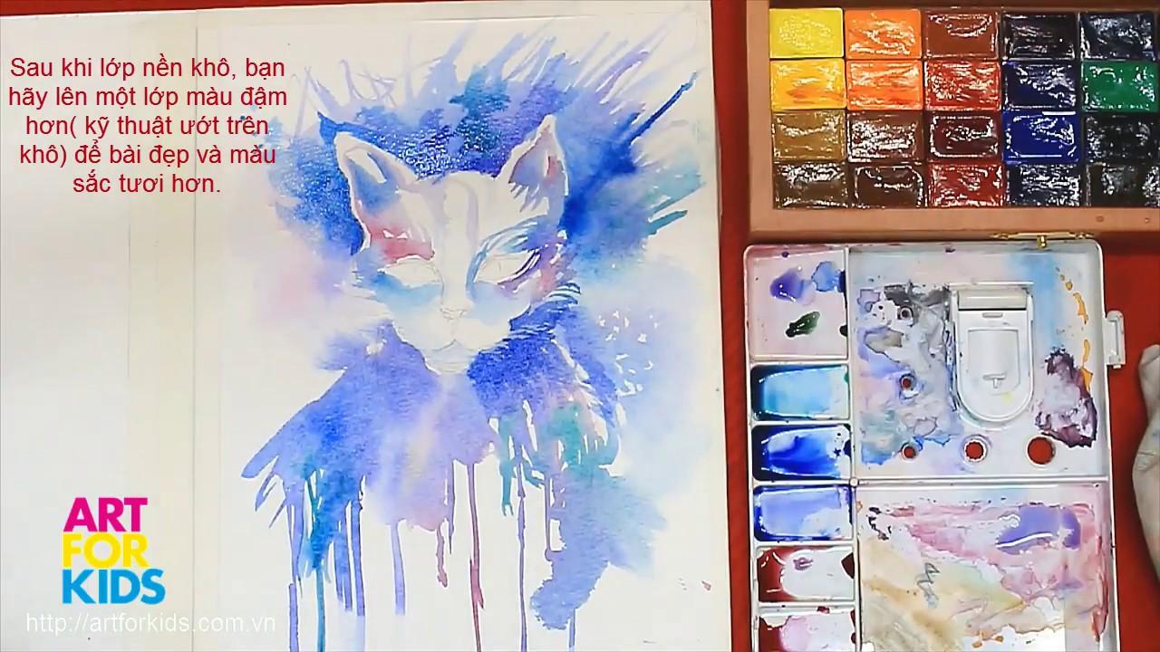 ✅ Dạy vẽ Mèo bằng màu nước cho bé | How to draw Cool Cat by watercolor for Kid.