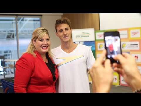 Cameron McEvoy lands in Adelaide for the 2016 Hancock Prospecting Australian Swimming Championships
