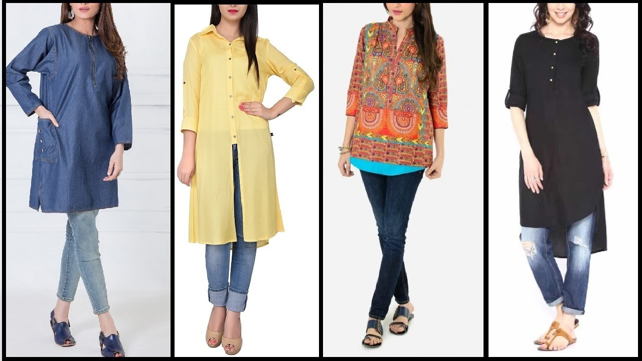 cc5dd4a9 Top Latest 2017 stylish / trendy kurtis designs | long shirts with jeans long  kurtis for daily wear