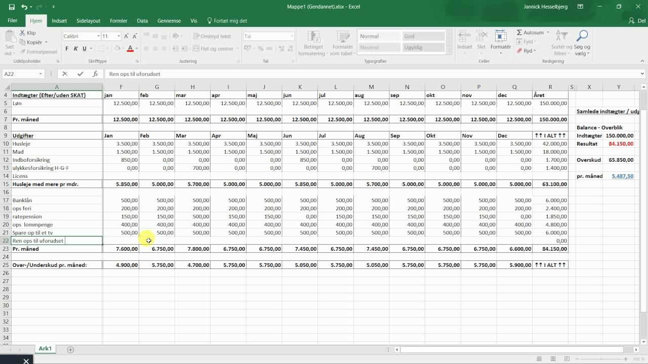 Excel 2016 Lav pænt regnskab for 2017