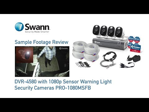 Swann 1080p DVR Sample CCTV Footage Review DVR-4580 with PRO-1080MSFB Sensor Light Security Cameras