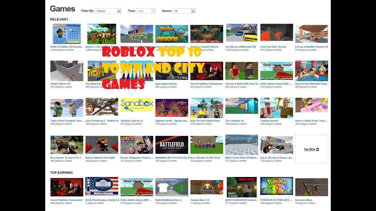 Old Video Roblox Top 10 Town And City Games Youtube