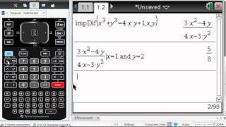 TI-Nspire CAS implicit differentiation
