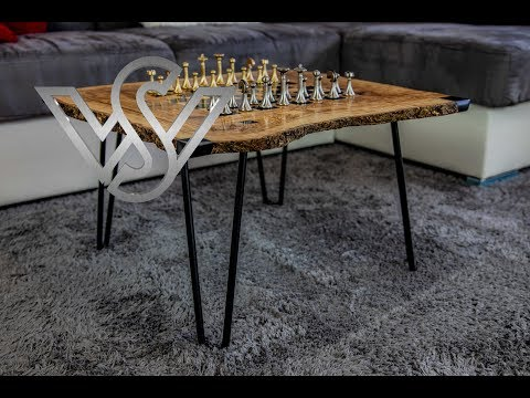 epoxy resin live edge table with chessboard design part 2