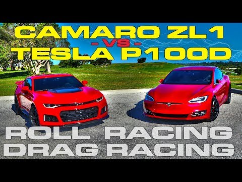Download Youtube: Muscle vs Electric - Tesla Model S P100D Ludicrous vs Chevrolet Camaro ZL1 Drag and Roll Racing