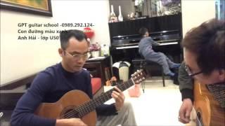 Luyện guitar vòng hòa thanh La trưởng (con đường màu xanh)