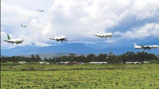 Landing Wamena Trigana Air,Hercules,Nam Air,Wings Air,Deraya Air, My Indo Airlines, Jayawijaya Dirga