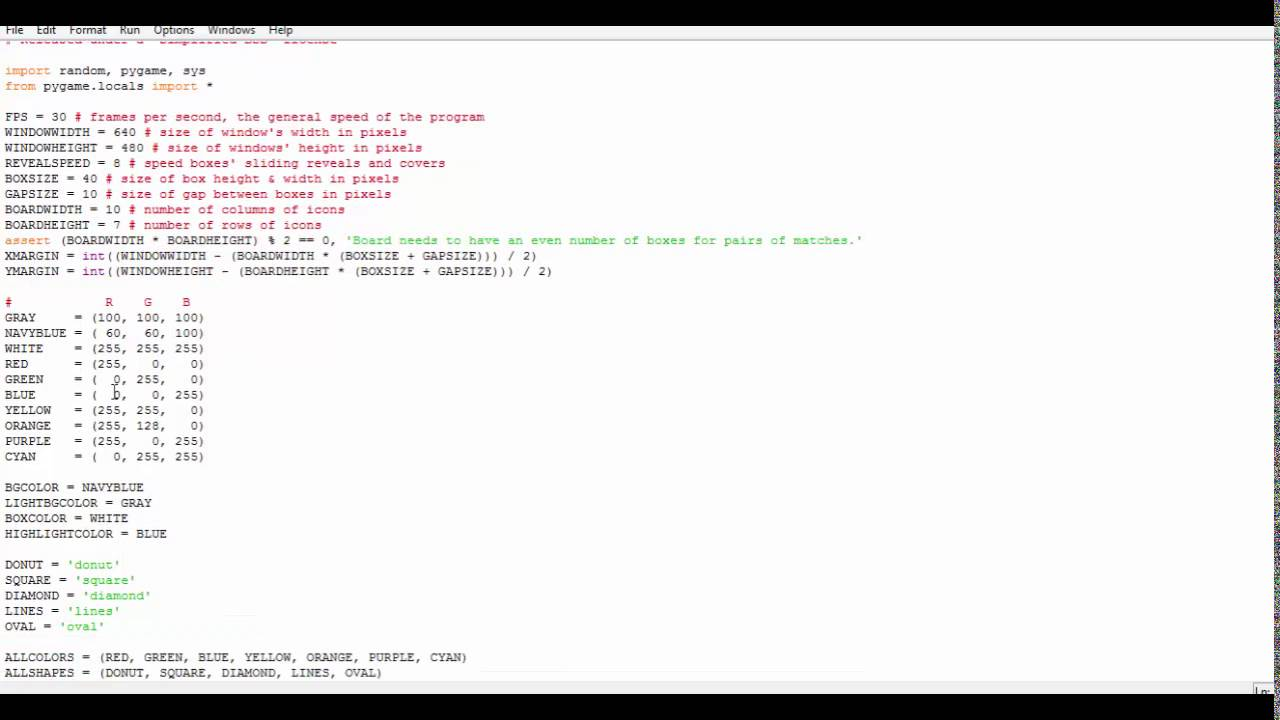 How to program memory puzzel game in python