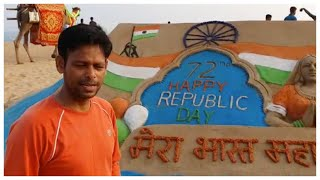 Republic Day 2021: Sand artist creates 15-feet-wide sculpture in Odisha