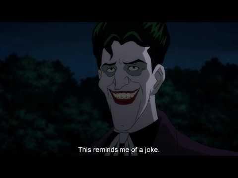 Joker tells Batman a joke and batman laughs