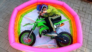 Funny Video For Children Baby Ride on Dirt Cross Bike Power Wheel Pocket Magic Hide and Seek Pool 2