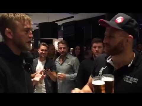 Alexander Gustafsson and Jan Blachowicz showing respect after the fight at UFC Hamburg