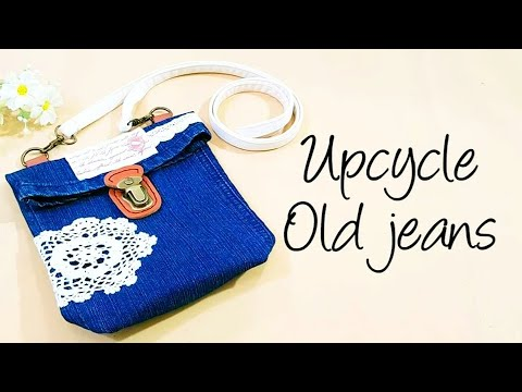 DIY bag | Creative Upcycle Old Jeans Into Stylish Sling bag #HandyMum