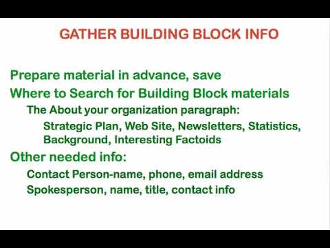 Public Relations for Nonprofits : Gather Building Block Information
