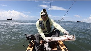 Kayak fishing the North Galveston Jetty, nice speckled trout