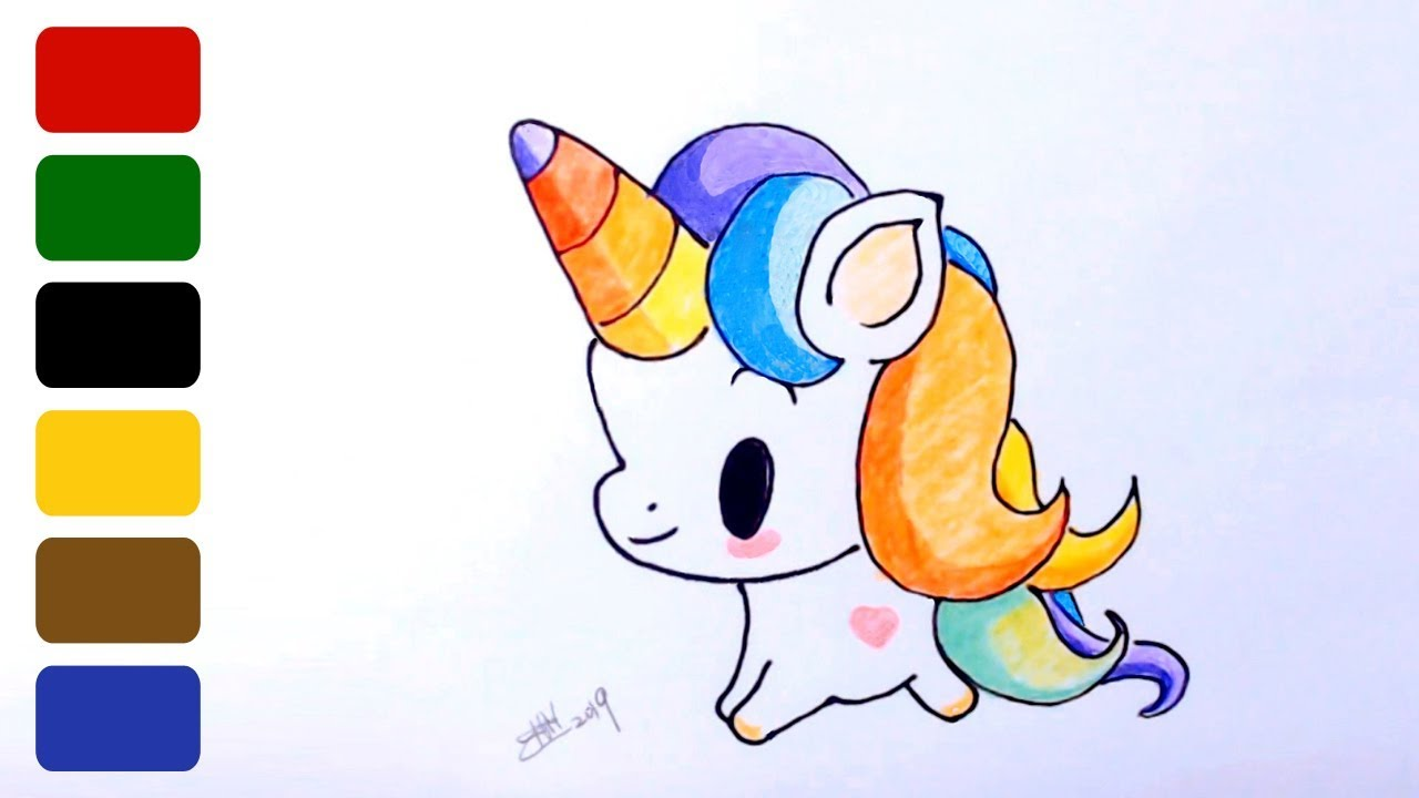 How to Draw a Cute Baby Unicorn - Part 4 - YouTube