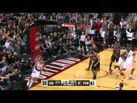 Nicolas Batum bullies on the Bulls with a dunk