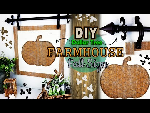 Dollar Tree DIY | Farmhouse Hanging Fall Sign