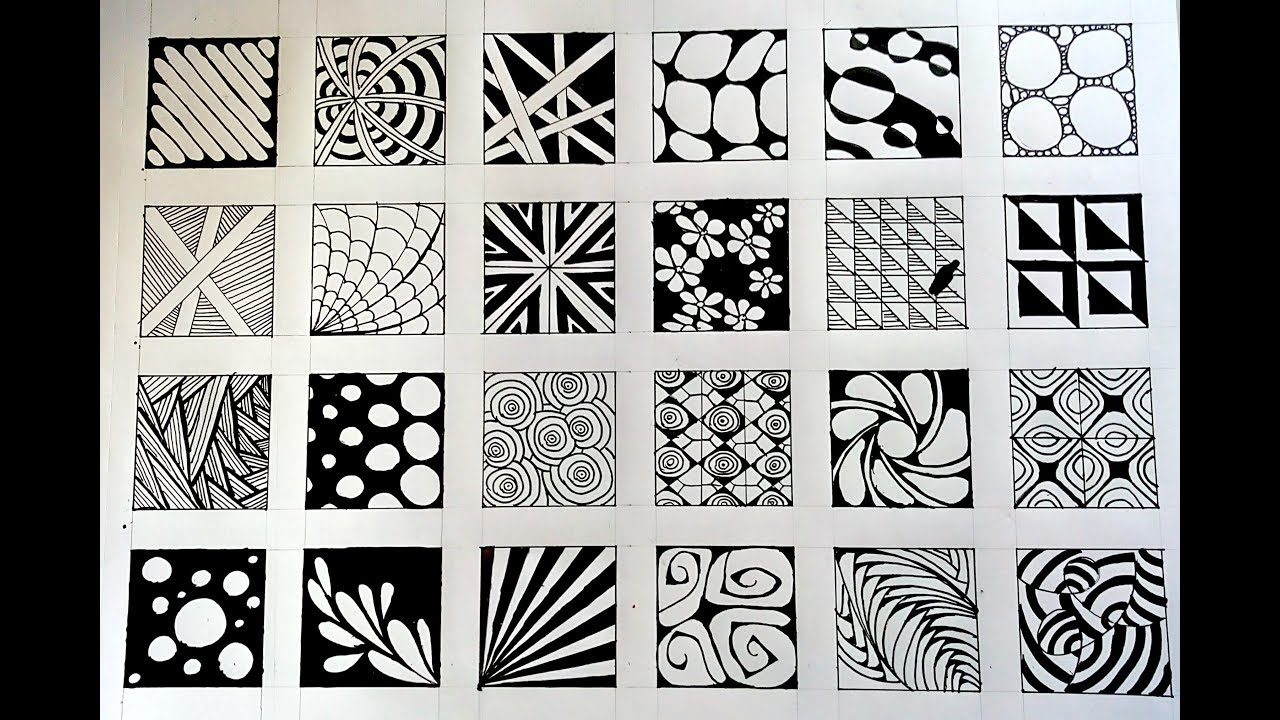 24 Zentangle Patterns 24 Doodle Patterns Zentangle Patterns Mandala Patterns Part 2 Youtube