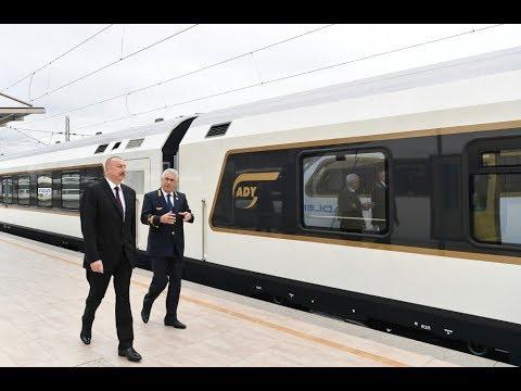 Президент Ильхам Алиев ознакомился с поездом, который будет курсировать по линии Баку ТбилисиТ
