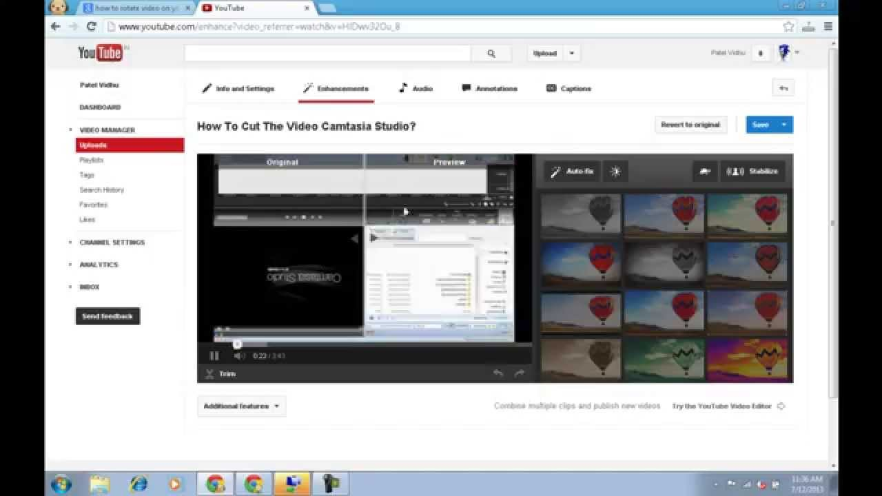 How to rotate uploaded video on youtube youtube ccuart