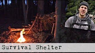 Building a Survival Shelter in the Woods, Bushcraft Survival Shelter (4K)