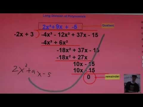 การหารพหุนามโดยวิธีหารยาว(Long Division of Polynomials)