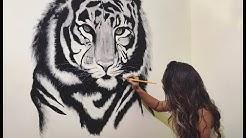 Desenho Tigre Realista na Parede