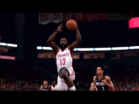 NBA LIVE 19 - Portland Trail Blazers vs Houston Rockets -  CPU SIM Full Game PS4 PRO - HD