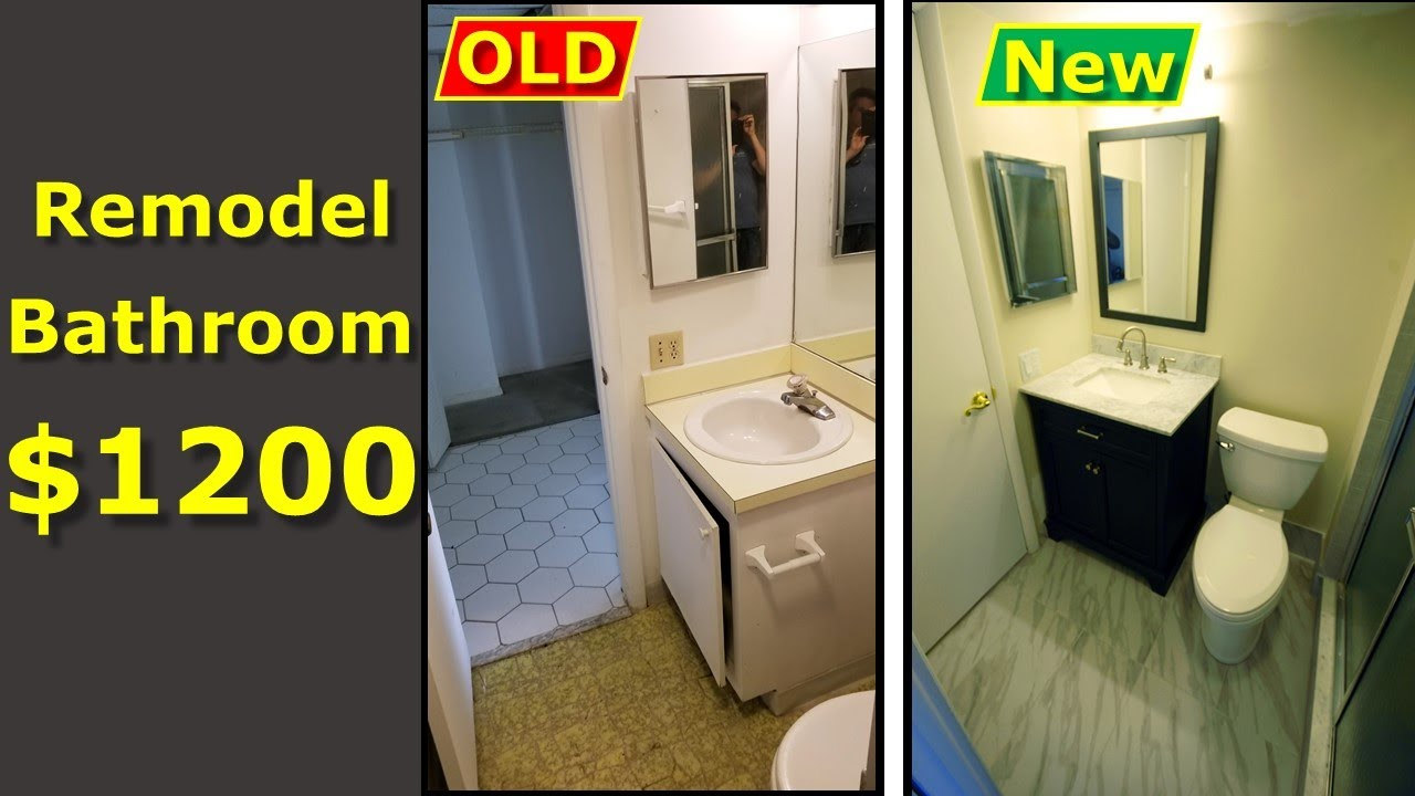 Diy Bathroom Remodel 1200 Renovation Budget Watch This Youtube