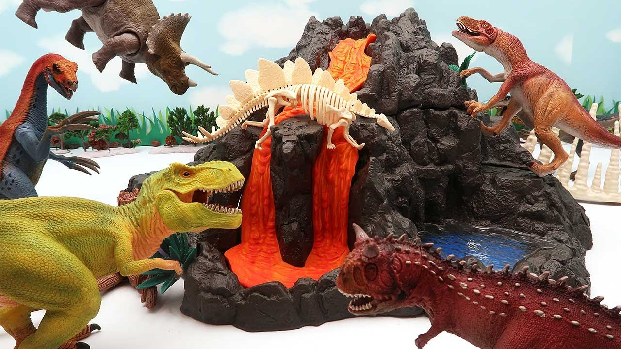 Giant Volcano With Dinosaurs! Dinosaur Battle, Egg Hatching, Volcano Eruption