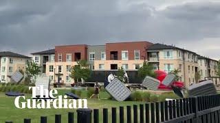 Strong wind blows dozens of air mattresses through Denver park