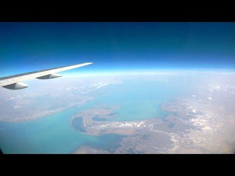 Взлет самолета в Алмате. Посадка самолета в Астане. Авиакомпания Скат