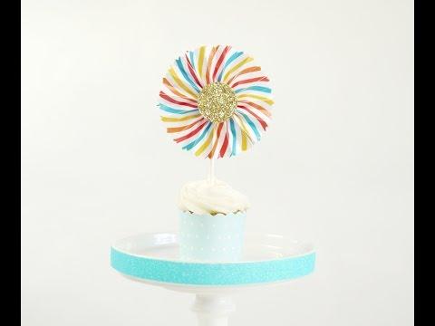 toppers cupcakes diy mini rosaces en papier youtube. Black Bedroom Furniture Sets. Home Design Ideas