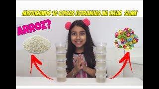 MISTURANDO 10 COISAS ESTRANHAS NA CLEAR SLIME !! - Julia Moraes