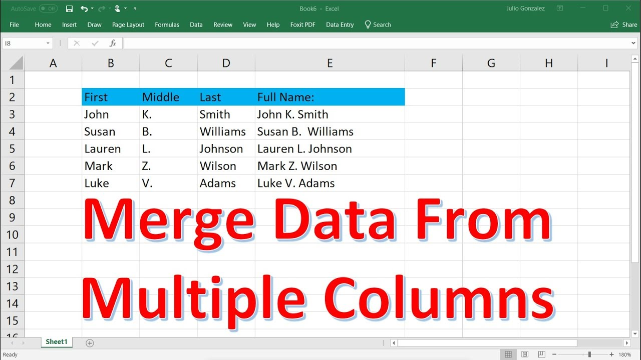 How to Merge Data From Multiple Columns In Microsoft Excel Using TextJoin &  Concatenate Functions