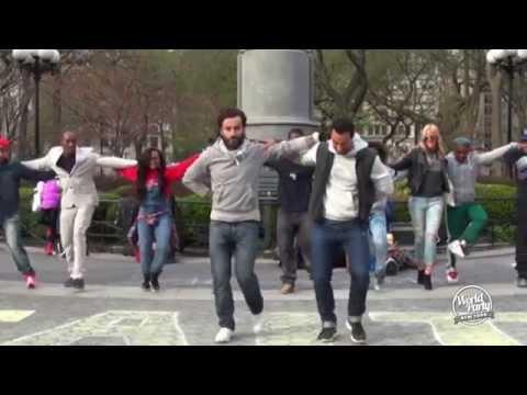 Harlem Shakers dance Greek sirtaki downtown Manhattan!! (World Party)