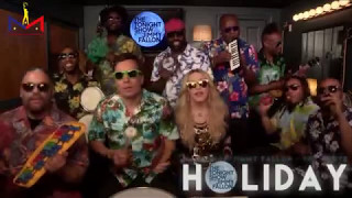 """Madonna Performs """"Holiday"""" with Jimmy Fallon & The Roots (04.09.15)"""