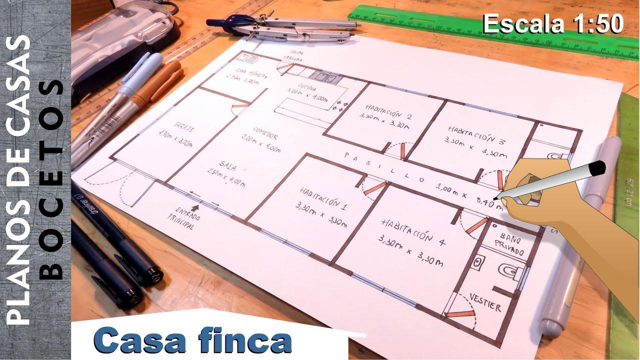 Dibuja planos de Casas 3/5 - Casa finca de 1 piso 16m x 8m Escala 1:50
