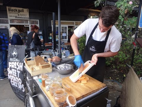 Freshly made Sweet Potato Crisps - British Street Food Snack by McLauchlan's, Camden Market, London