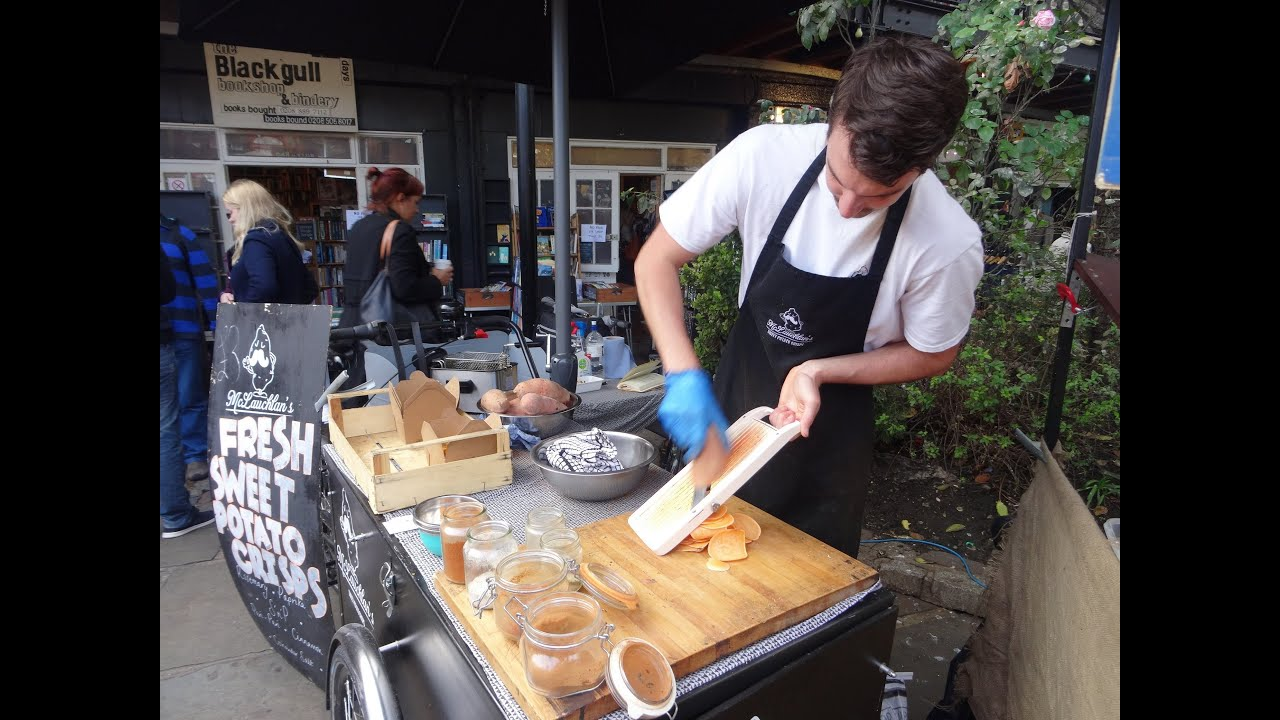 Freshly Made Sweet Potato Crisps British Street Food Snack By Mclauchlan S Camden Market London Youtube