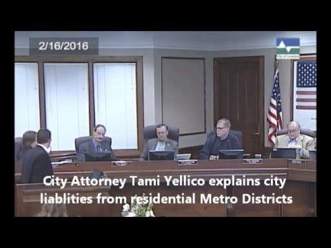 Loveland City Attorney Tami Yellico explains city liability for residential metro districts