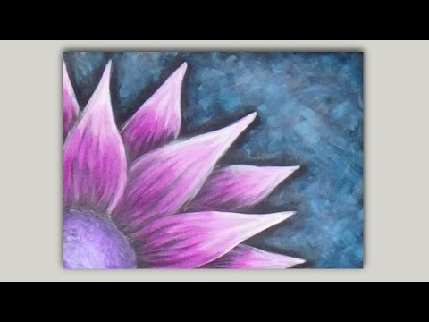 adding colour to a black and white flower acrylic painting