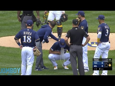 Download Adrian Houser makes an error then pukes on the mound, a breakdown