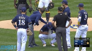 Adrian Houser makes an error then pukes on the mound, a breakdown