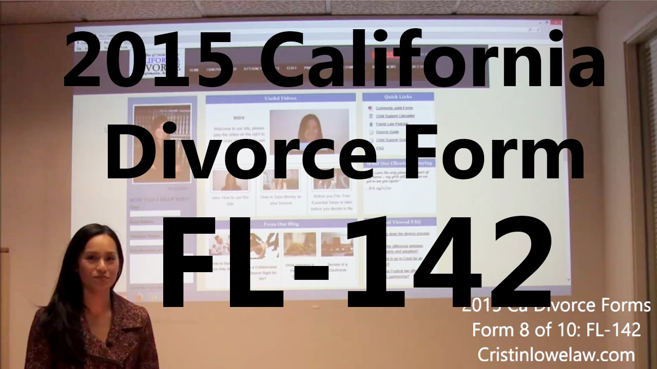 Filing California Divorce Forms: Form 8 of 10 the FL-142 - YouTube