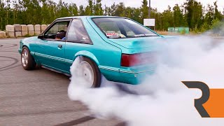The Sketchiest Foxbody Mustang Drift Car | An Angry 5.0L and a Few Roasted Tires!