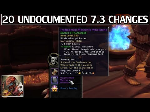 20 Undocumented Changes in 7.3 - WoW Legion