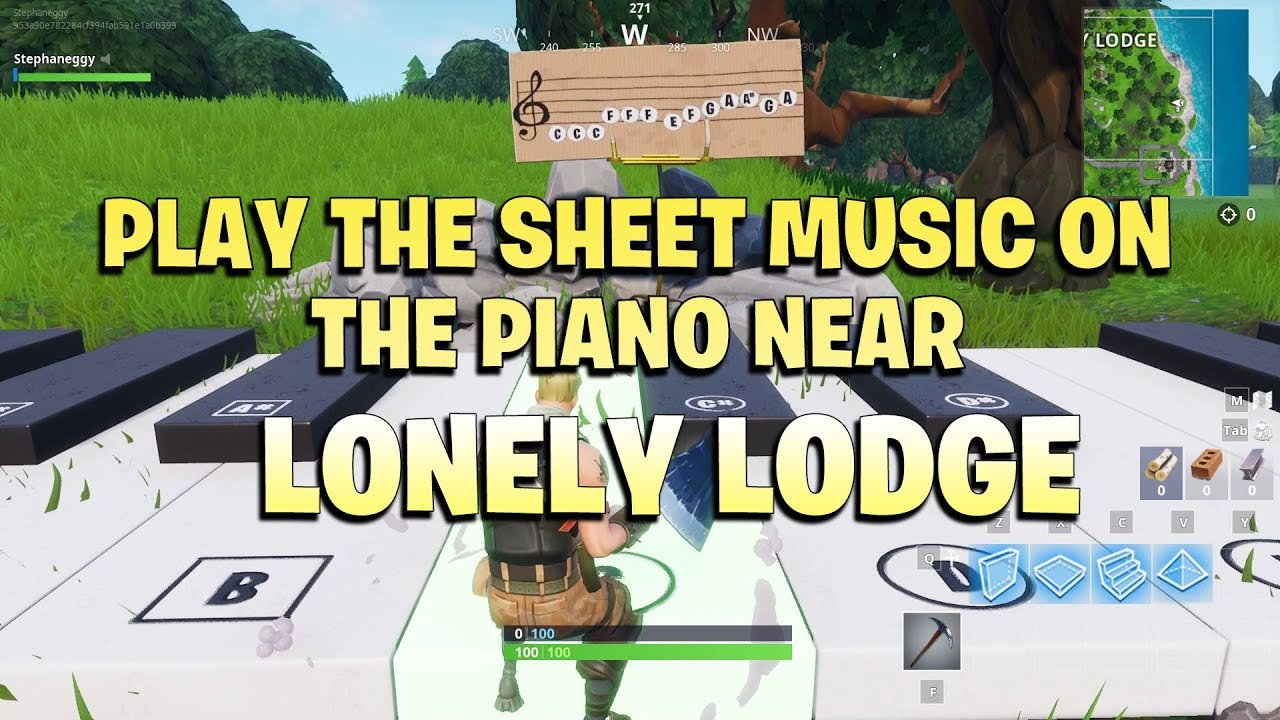 play the sheet music on the pianos near lonely lodge fortnite week 2 season 7 - piano sheet music fortnite lonely lodge